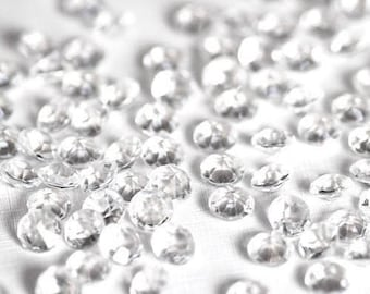 Clear Crystal, Acrylic Diamond Shaped Confetti, 100 pcs Party Decorations, Wedding Table Scatter or Vase, Christmas Craft Supplies 8mm