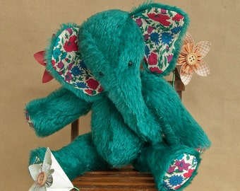 Emerald Green Mohair Elephant, Handmade by BearTonBorough in a Traditional Vintage Style, Perfect as Circus Nursery Decor or for Collectors