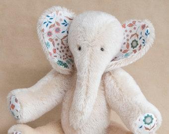 Ivory Coloured OOAK Mohair Elephant, Handmade by BearTonBorough in a Vintage Style,  Artist Bear with Floral Feet and Ears