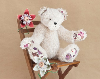 Handmade White Artist Bear by BearTonBorough, OOAK Teddy Bear with Liberty London Fabric Cotton Paws, Old Fashioned Vintage Style Bear