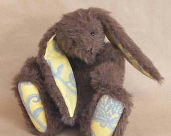 Wood, a OOAK Traditional Mohair Bunny Rabbit by BearTonBorough, Brown Handmade Artist Bear, Ideal Vintage Nursery Decor or Bunny Collectors