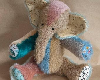 Patchwork Mohair Elephant Handmade by BearTonBorough, Rainbow Artist Bear, Vintage Style, Old Fashioned Teddy called Stafford