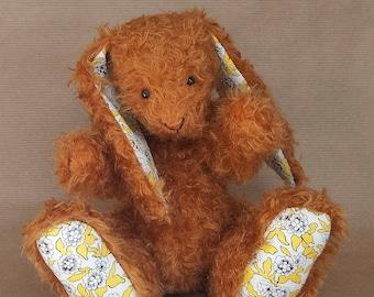 Burnt Orange Handmade Mohair Bunny Rabbit by BearTonBorough, Liberty Fabrics Cotton, Autumn Theme Nursery Decor, OOAK Artist Bear Collectors