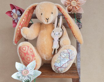 Ambleside, Cumbria, Lake District Map Memory Bunny Rabbit by BearTonBorough, Traditional Handmade Artist Bear, Anniversary or Christening