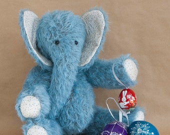 Lownde; a OOAK Traditional Blue Mohair Elephant by BearTonBorough, Ideal as a Christening Gift, Nursery Decor or Artist Bear Collectors