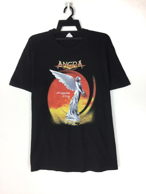 Vintage 90's Angra metal rock band tshirt tee