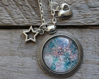 Necklace - Heavenly blue Galaxy star heart sequin - creation for yourself or to offer