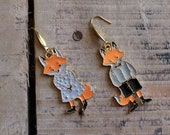 Earrings - Mr and Mrs FOX foxes, gold, orange, autumn, nature - creation to offer or offer
