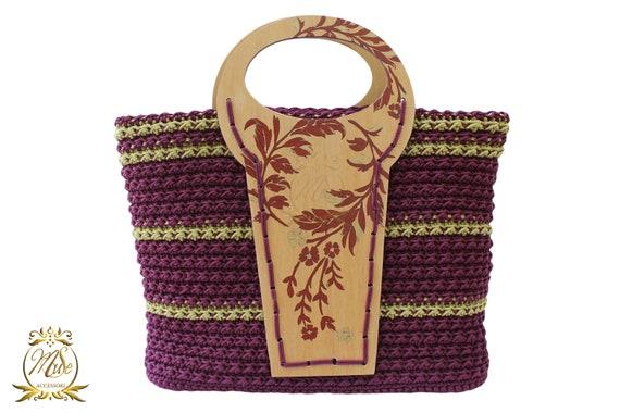 New York f1580 13af9 Borsa uncinetto, borse fatte a mano, borse in legno, hand made bag, crochet  bag, artigianato italiano