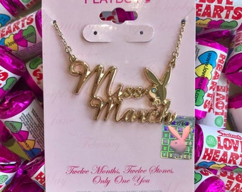 Vintage Gold Miss March Playboy Necklace
