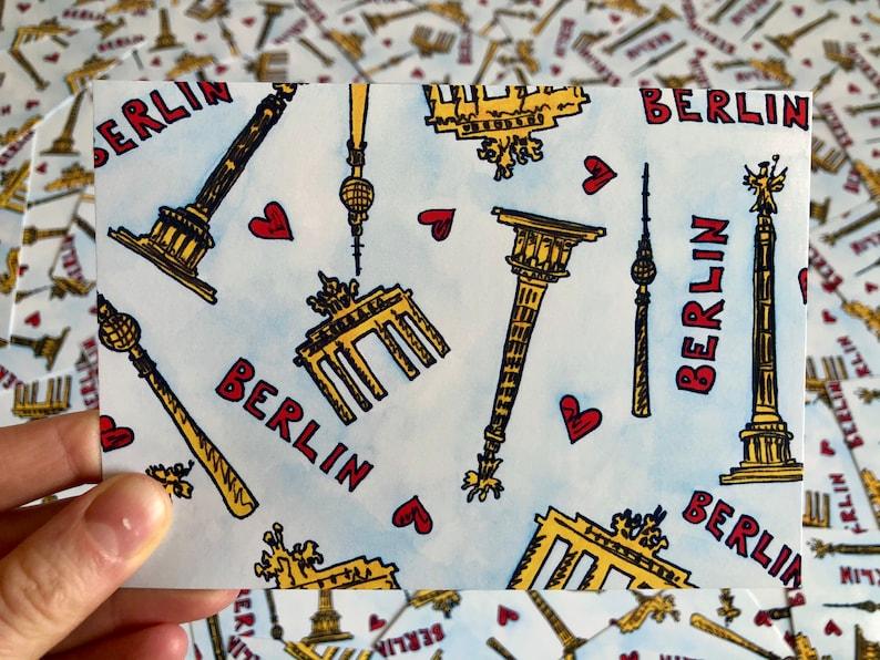 I Love Berlin Pattern Postcard image 0