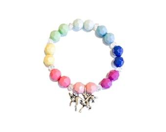 Unicorn Charm Bracelet | Rainbow Beads | Antique Silver | Girls Bracelet | Kids Accessory |