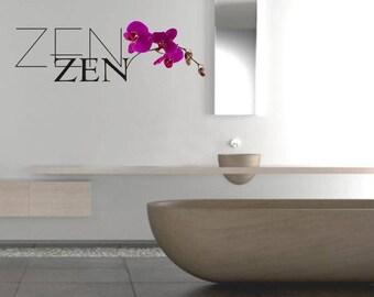 Zen sticker black color + Fuchsia Orchid