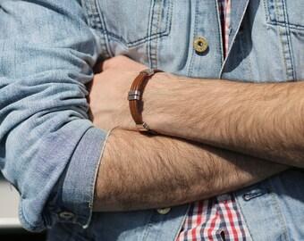 Brown genuine leather bracelet!Boho bracelet!Triple cord leather bracelet!Lobster claw lock!Nice gift for men and women!