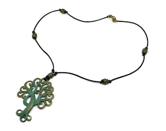 Genuine leather necklace!Boho necklace!Cord leather  tree pendant necklace!Nice gift for girls and women!