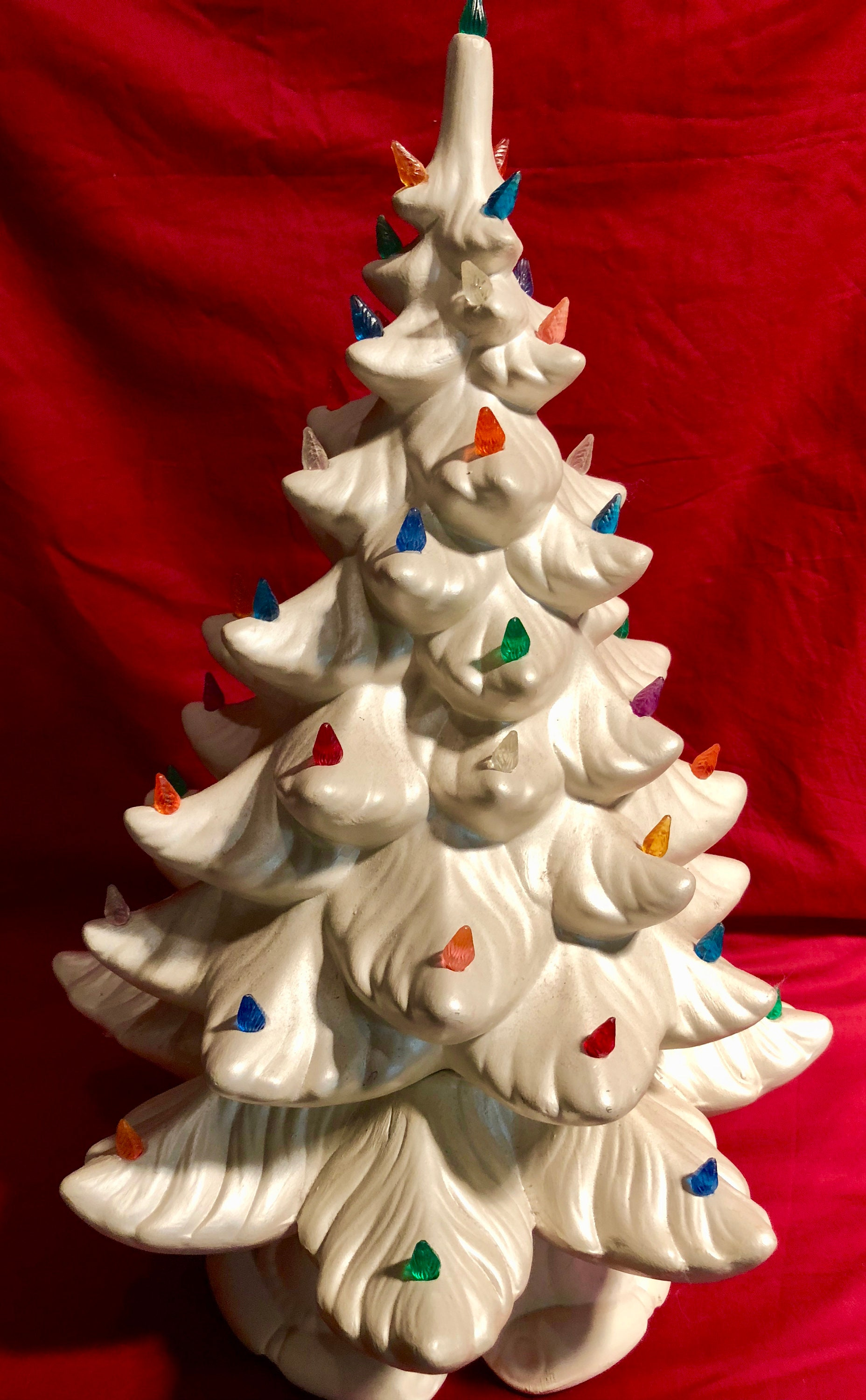 Large Vintage Lighted White Ceramic Christmas Tree With Music Box