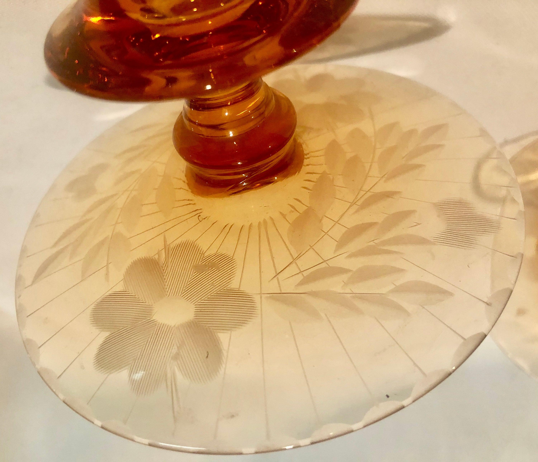 Vintage Amber Etched Depression Glass Candlesticks -Pair ...