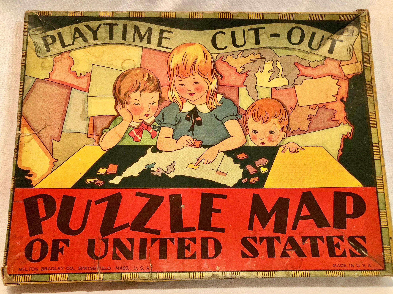 Vintage Milton Bradley Circa 1920\'s Puzzle Map of the United States ...