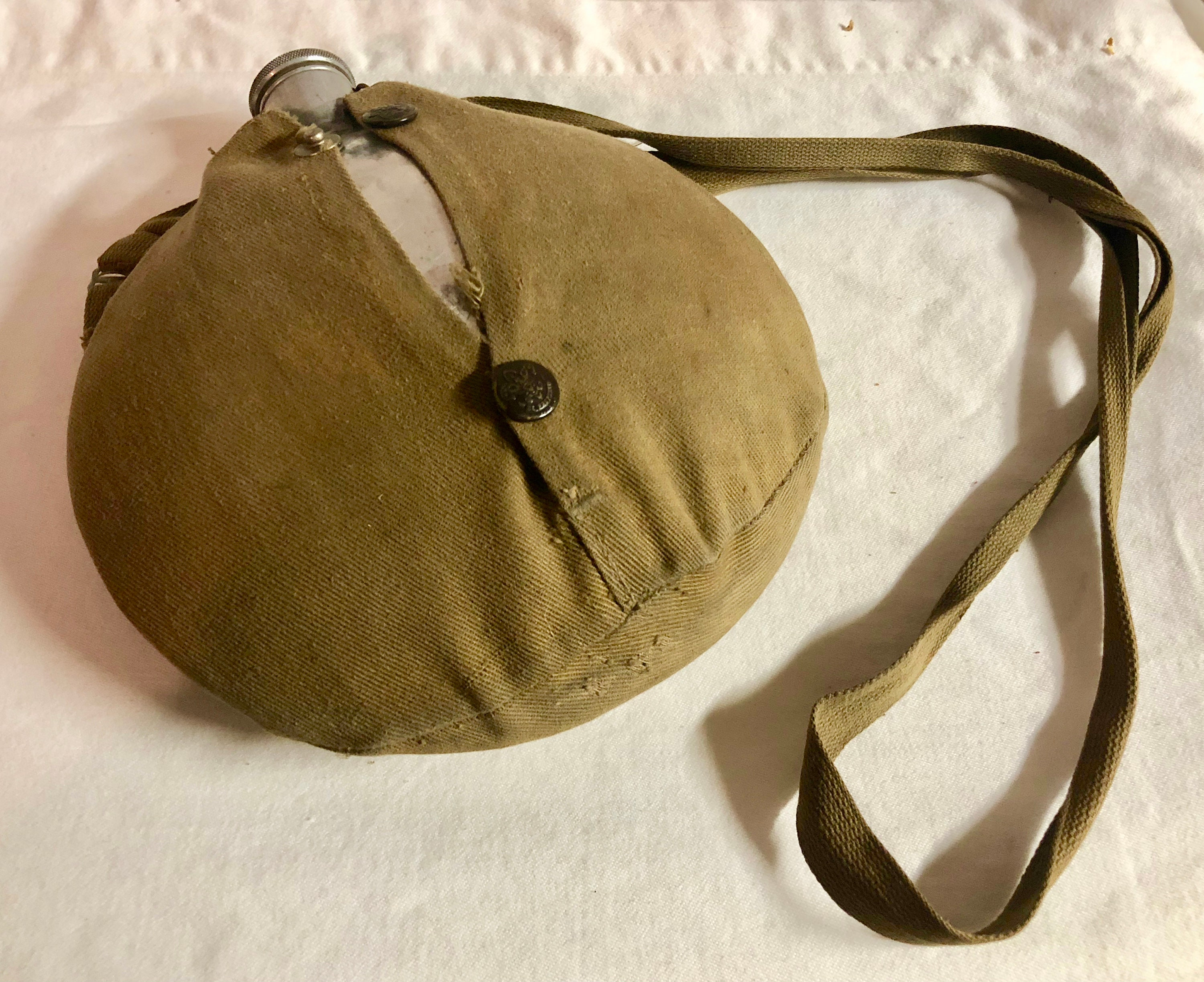 27f21c1e3 Vintage Boyscout Olive Green Canvas and Aluminum Canteen, Wearever