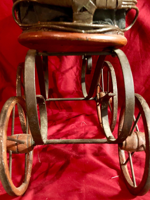 Victorian Wicker/Rattan Doll Stroller/Pram with Wooden ...