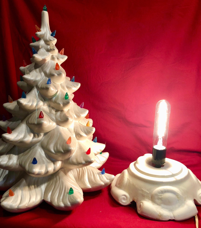 Vintage White Ceramic Christmas Tree.Large Vintage Lighted White Ceramic Christmas Tree With
