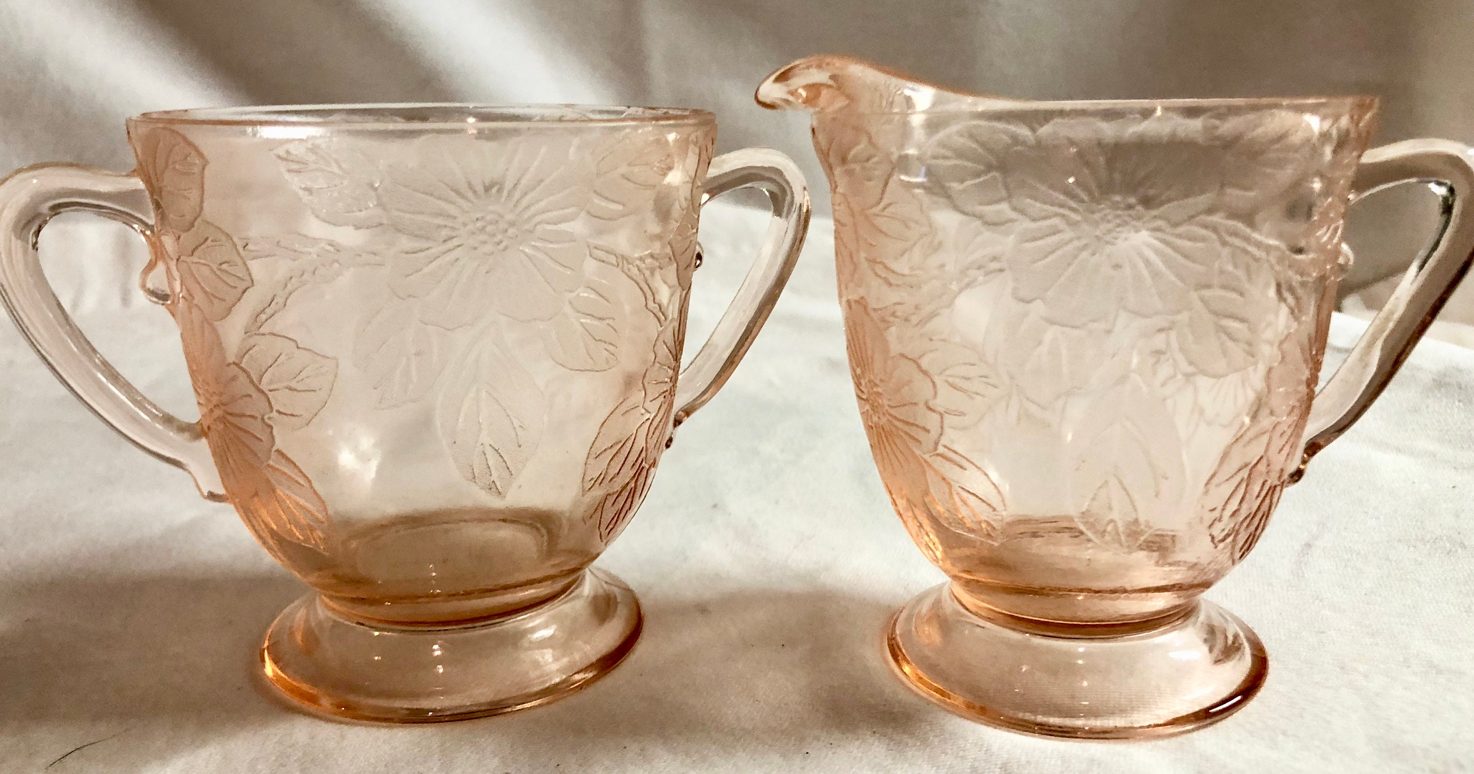 Antique Blush Pink Depression Glass Sugar and Creamer with ...