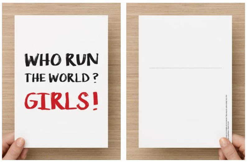 Postcard - Who Run The World? Girls! -A5 format to send letters and  letters, Beyoncé song quote