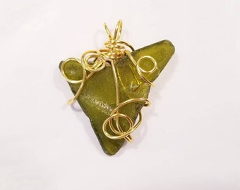 Gold plated wire hand wrapped olive green outer banks beach sea glass pendant
