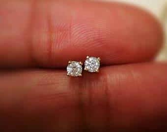 58c504b66 0.30 Ct Diamond Stud Earring Round Diamond Solitaire Earrings 14k Yellow  Gold 14K White Gold 14K Rose gold
