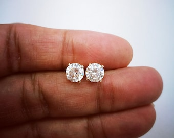 27ad5c155 2 Ct Diamond Stud Earrings, Womens Solitaire Diamond Earrings, 14K White  Gold, Yellow Gold or Rose Gold Mens Earrings, Classic Earrings