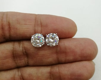 14513d099 4 Ct VVS1/D Brilliant Stud Earring Unisex Round Diamond Solitaire Earring  14K White Gold Over Womens Earrings Diamond Stud Earrings