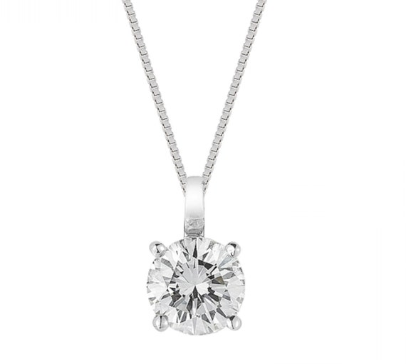 """1 Ct Star Diamond Solitaire Pendant Womens Necklace with18/"""" Chain 14K White Gold"""