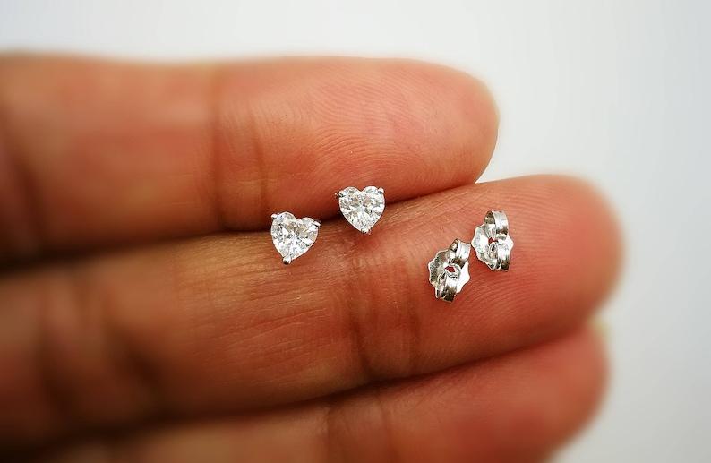 e272b59abae75a 3/4 Ct Heart Shape Solitaire Diamond Stud Earrings 14K White | Etsy
