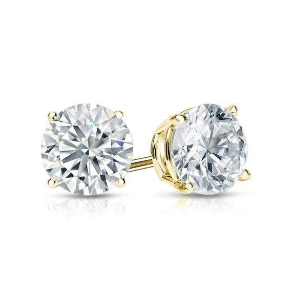 2.00 Ct Round Cut D//VVS1 Single Stud Men/'s Earrings 14k White Gold