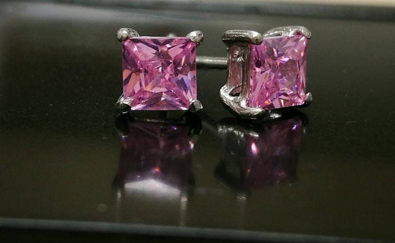 8052d628ec9d 1 2 Ct Pink Diamond Princess Cut Stud Earrings Womens