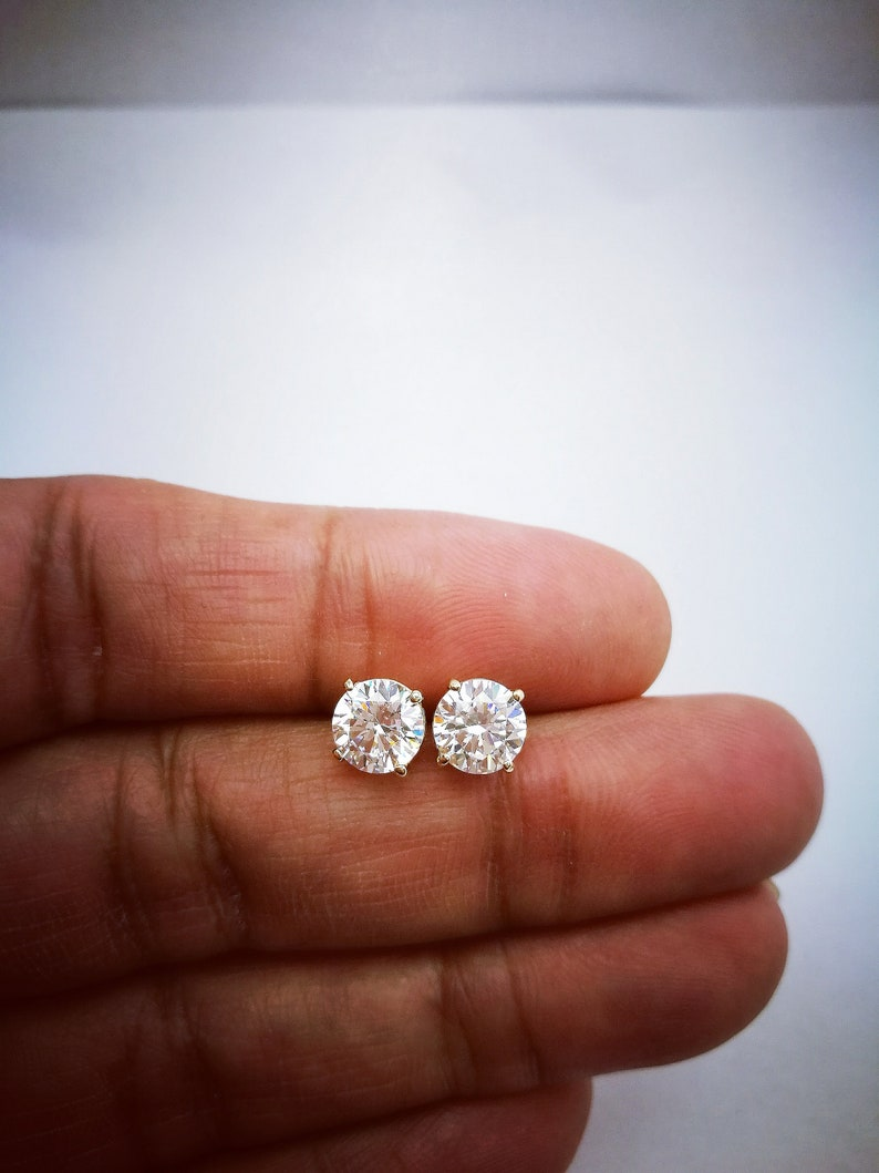 f0ef0a495 2 Ct Diamond Stud Earrings Womens Solitaire Diamond Earrings | Etsy