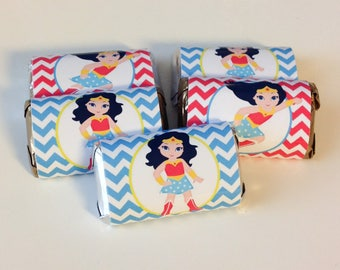 50 Wonder Woman personalized mini candy bar wrappers baby shower favors party favors bridal favors small gifts