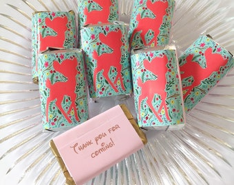 50 Deer Bambi personalized mini candy bar wrappers baby shower favors party favors bridal favors small gifts