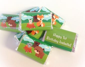 50 Woodland personalized mini candy bar wrappers baby shower favors party favors bridal favors small gifts
