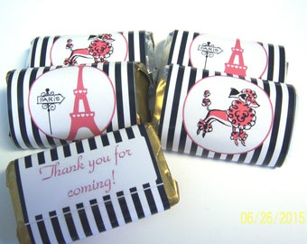 50 Paris France personalized mini candy bar wrappers baby shower favors party favors bridal favors small gifts