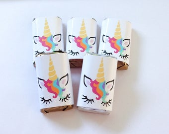 50 Unicorn personalized mini candy bar wrappers baby shower favors party favors bridal favors small gifts