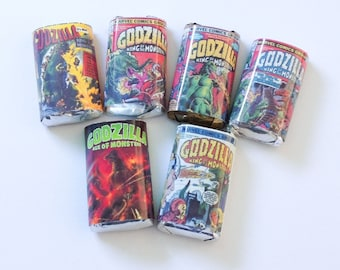 50 Godzilla personalized mini candy bar wrappers baby shower favors party favors bridal favors small gifts