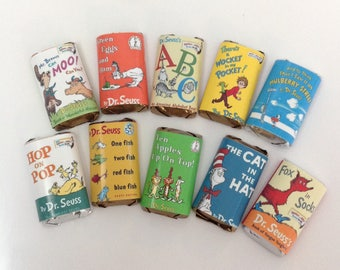 50 Dr. Suess Books personalized mini candy bar wrappers baby shower favors party favors bridal favors small gifts