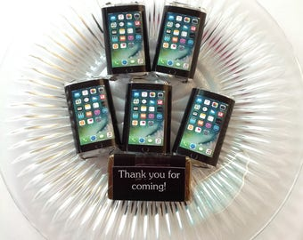 50 IPhone personalized mini candy bar wrappers baby shower favors party favors bridal favors small gifts