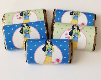 50 Mulan personalized mini candy bar wrappers baby shower favors party favors bridal favors small gifts
