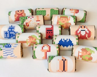50 Zelda personalized mini candy bar wrappers baby shower favors party favors bridal favors small gifts