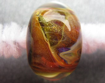 BORO Lampwork Focal Bead, Earth-Toned Lampwork Focal Bead, Golden Yellow, Yellow, Golden Brown, Orange, Purple, Shimmers, OOAK Bead - HGD536