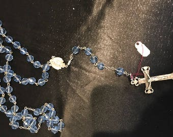 Light Blue Glass Rosary Beads