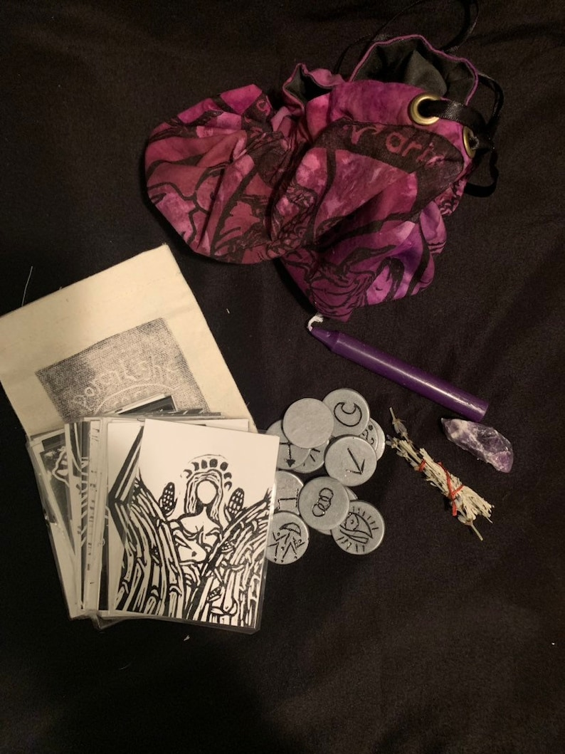 woodblock spirit witch goddess Zodiac pagan Divination Bundle travel altar crystal grid divination tarot astrology cinch pouch