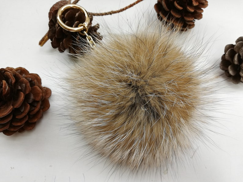 Real fox fur bag charm pom,fur pompom,real fox pom pom pom keychain,real fur bag accessory bright pink and gray color  bag charm pom